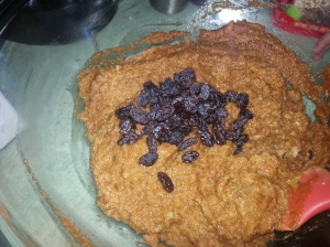 We used raisins, at Sweet Bee's request. Stir in your add-ins last, if you're using them.